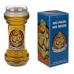 Bierglas - No Pain No Beer - Halter - Dumbbell