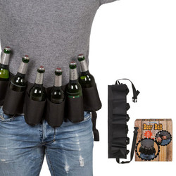 Bierfles Houder Riem - Beer Belt - Zwart - Met bieropener sleutelhanger